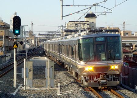 080315_直通快速・223系・JR俊徳道にて