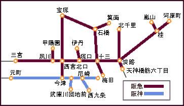 阪急・阪神路線図